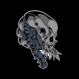 Mechanical skull illustration