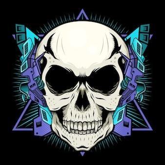 Механический череп с фиолетовой броней детализировал концепцию дизайна вектор