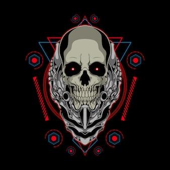 神聖な幾何学の図と機械的な頭蓋骨