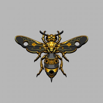 Mechanical steampunk bee illustration