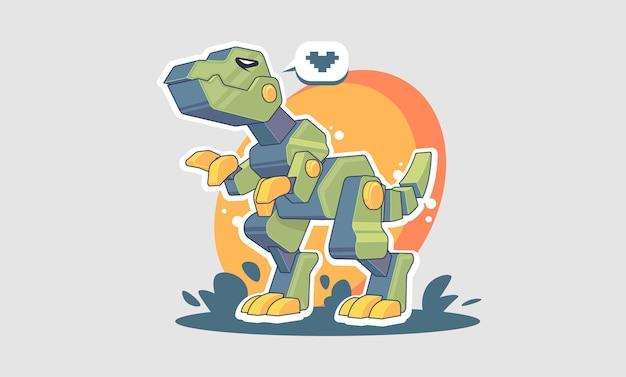 Mechanical t-rex cartoon illustration