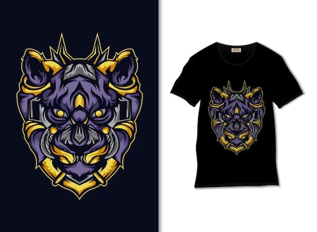 Tシャツデザイン、手描きの機械的な虎図