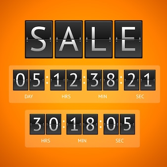 Продажа механических табло. концепция обратного отсчета, изолированные на оранжевом фоне.