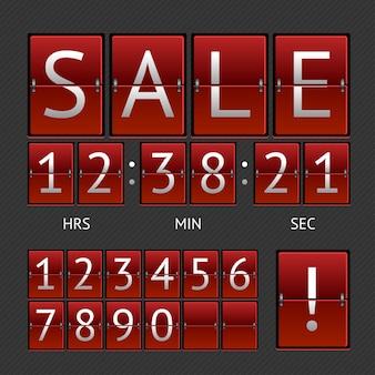 기계적인 timtable 판매. 빨간색 보드에 흰색 글자. 카운트 다운의 개념