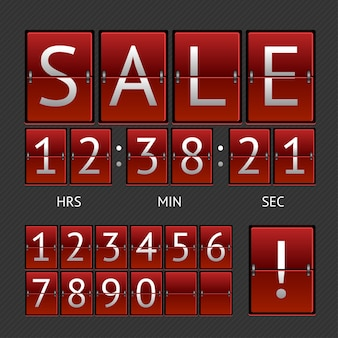 Mechanical timtable sale. white lettering on red boards. the concept of the countdown