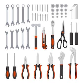 白で隔離の機械工具コレクション