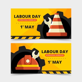 Mechanical wheels and tools labour day banner