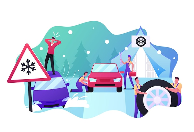 Mechanics change summer tyres on winter ones. desperate male character stand on roof of his car stuck in deep snowdrift, road safety, accident, garage service. cartoon people vector illustration