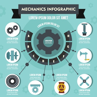 Mechanics infographic concept, flat style
