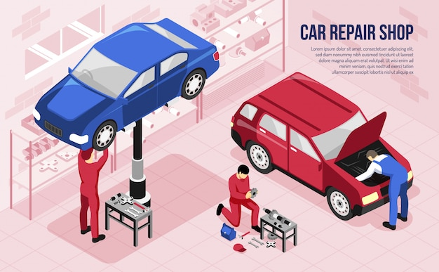 Mechanics with professional tools during work in car repair shop isometric horizontal