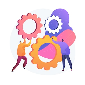 팀워크의 메커니즘. 기어를 함께 회전하는 만화 캐릭터. 코 워킹, 협업, 파트너십. 팀 빌딩 및 협력 기술.