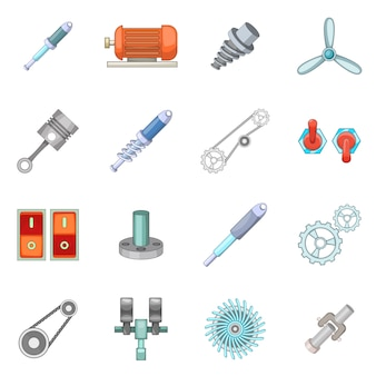 Mechanism parts icons set