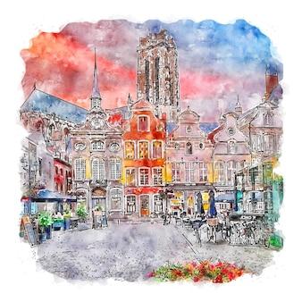Mechelen 벨기에 수채화 스케치 손으로 그린 그림