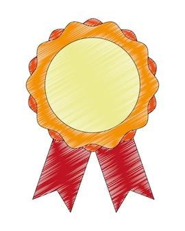 Medal award with ribbon vector illustration design