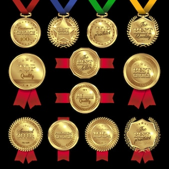 Medal awards labels set