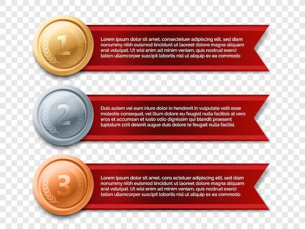 Медаль баннер иллюстрации. золотая, серебряная, бронзовая медаль с лентой красного знамени изолированы.