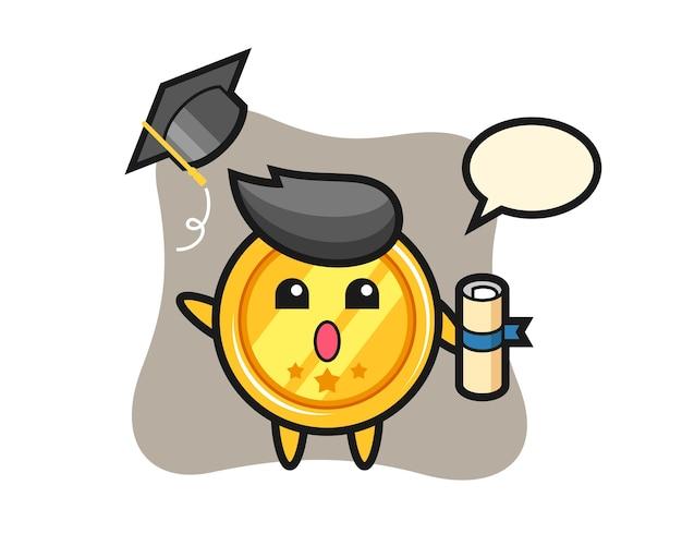 졸업에 모자를 던지고 메달 만화