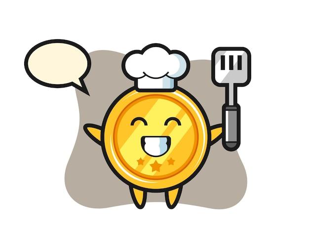 シェフとしてのメダルキャラクターが料理をしている
