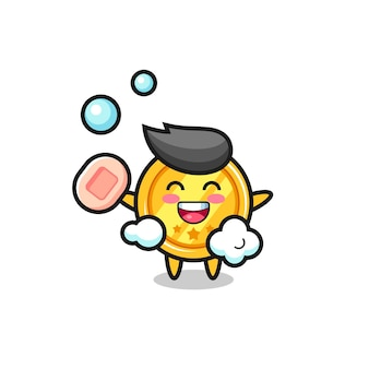 Medal character is bathing while holding soap , cute style design for t shirt, sticker, logo element