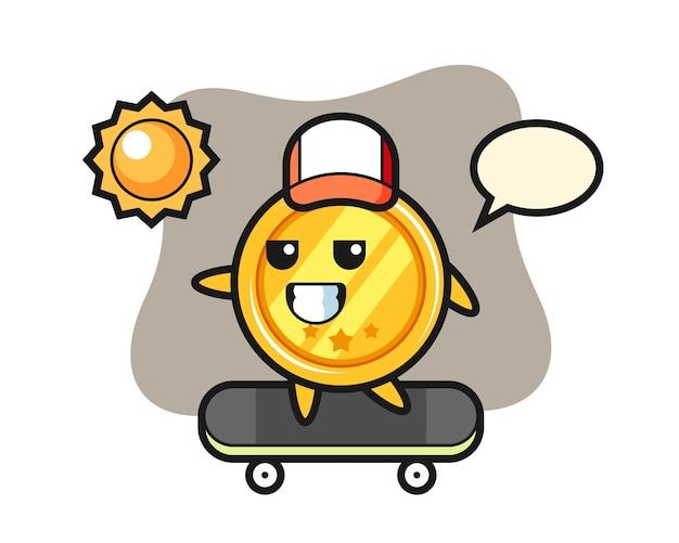メダルキャラクターがスケートボードに乗る