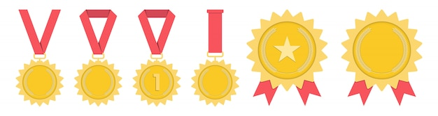 Medal- gold, silver, bronze. 1st, 2nd and 3rd place. trophy with red ribbon. flat style - stock vector.