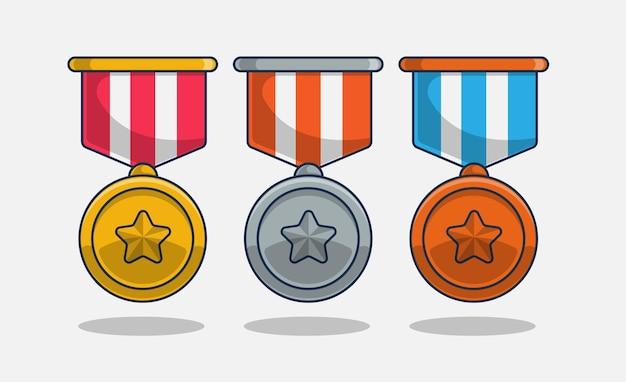メダルアイコンセットイラスト