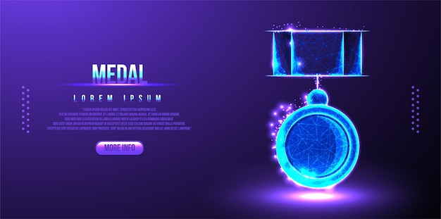 메달 로우 폴리 디자인, 보상 추상 기하학적 이미지, 상금 장소 와이어 프레임 메쉬 다각형