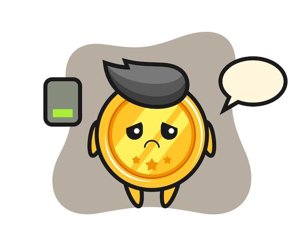 피곤한 몸짓을하는 메달 마스코트 캐릭터