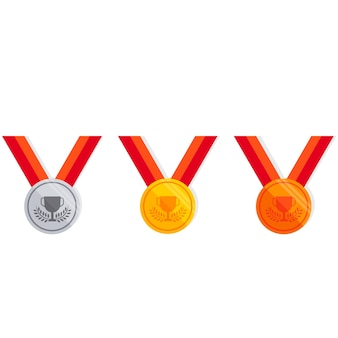 Medal set flat icon