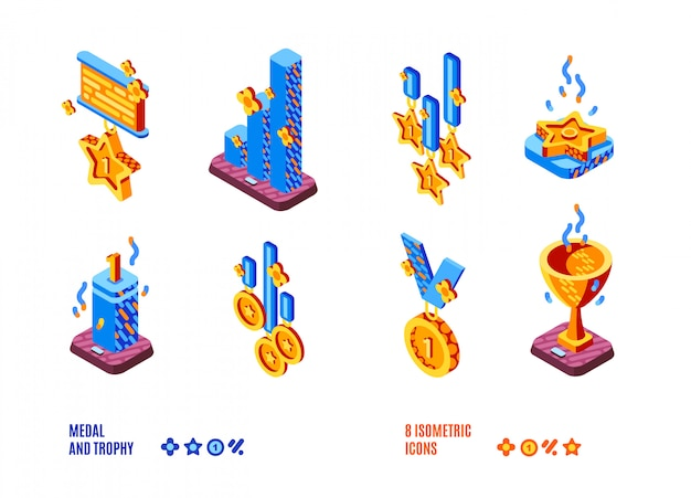 Medal and trophy competition isometric icons set