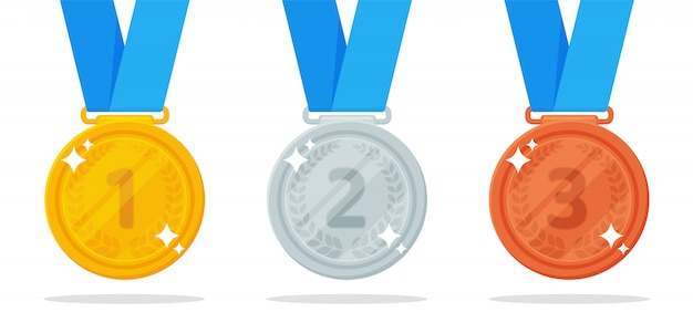 Medal vector. gold, silver and bronze medals are the prize of the winner of a sports event.