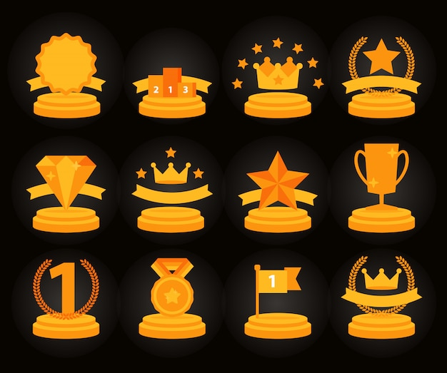 Medal and winner icon set,