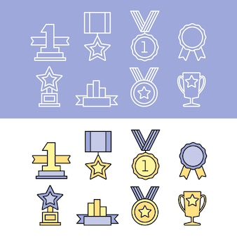 Medal and winner icon set.