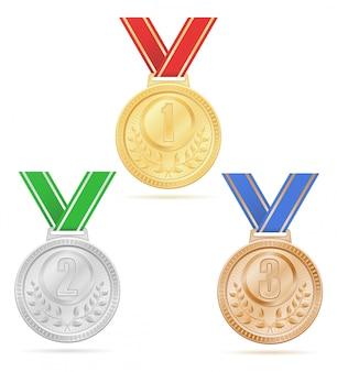 Medal winner sport gold silver bronze stock.