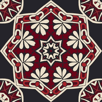 메달리온 당초 다 마스크 원활한 타일 모티브 패턴. 검정과 빨강 장식용 기하학적 표면 디자인.