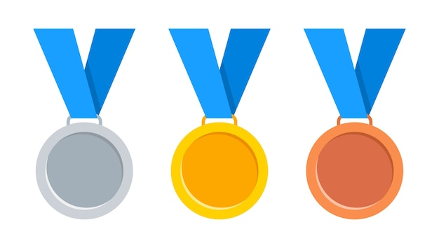 Medals gold, silver and bronze with blue ribbon.
