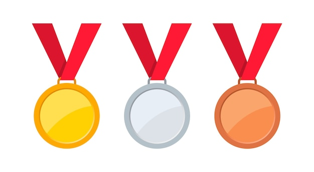 Medals gold, silver and bronze with red ribbon.