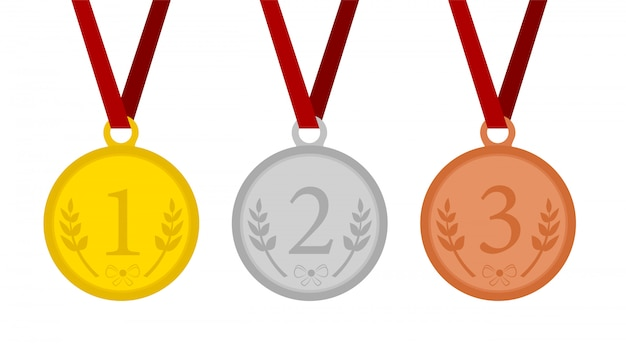 1 위, 2 위 및 3 위의 메달 메달.