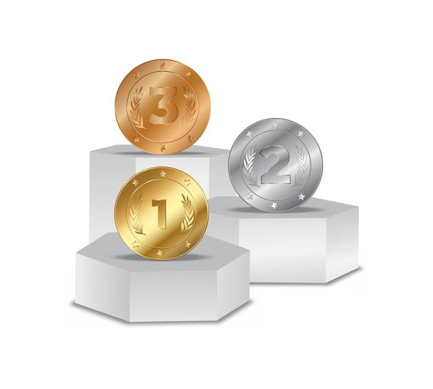연단에 메달입니다. 받침대에서 1, 2, 3위. 경쟁 및 목표 달성. 무대에 금 은색 청동 라운드 동전, 시상식 벡터 비즈니스 개념