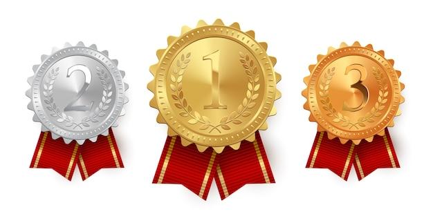 白い背景で隔離の赤いリボンとメダル