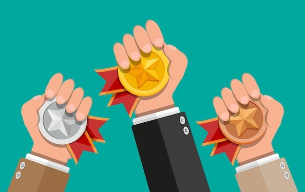 Medals with red ribbons and star shapes in hands. gold, silver, bronze champion. winners medallion. first, second, third place, achievement, award, prize, leader badge bonus. flat style illustration