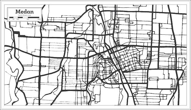 黒と白の色でメダンインドネシアの都市地図。白地図。ベクトルイラスト。