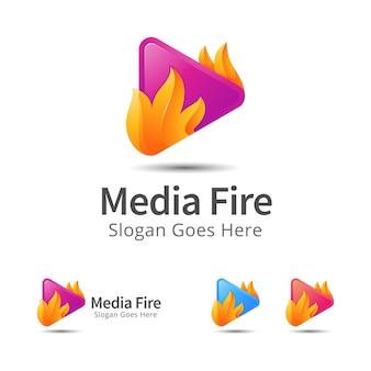 メディアと火のモダンなロゴデザインテンプレート