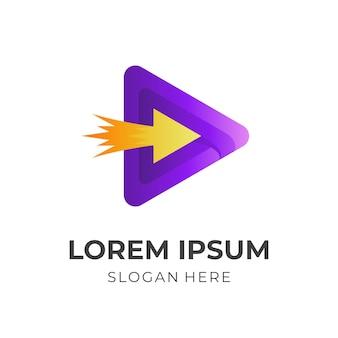 メディア矢印ロゴ、再生と矢印、3d紫と黄色のカラースタイルの組み合わせロゴ