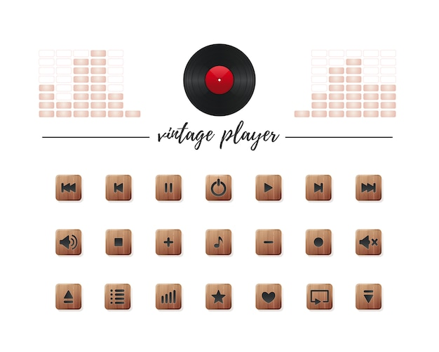 Media buttons collection for vintage audio player.