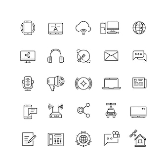 Media and communication line vector icons