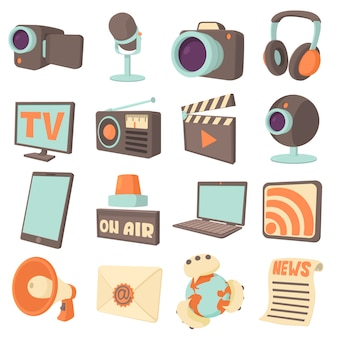 Media communications icons set