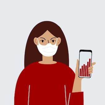 바이러스의 발생에 대한 언론의 보도는 대중의 공포를 불러일으키고 있습니다. 한 여성이 휴대전화로 뉴스 업데이트를 확인합니다. 소셜 네트워크에 대한 잘못된 정보.