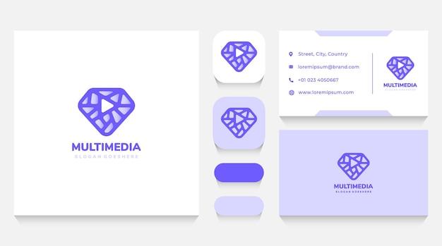 Media diamond logo template and business card