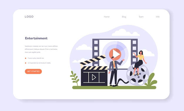 Media and entertainment industry web banner or landing page. multimedia communication and services. mass media, publishing and broadcasting sector of the economy. isolated flat vector illustration